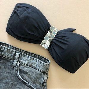 La Blanca Black Gray Gold Strapless Bikini Top Lg